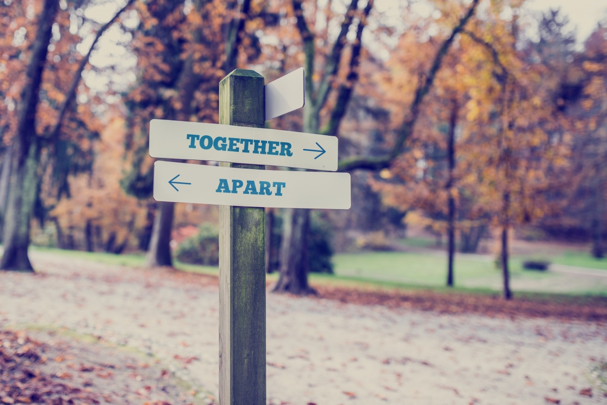 Rustic wooden sign in an autumn park with the words Together- Apart with arrows pointing in opposite directions in a conceptual image.