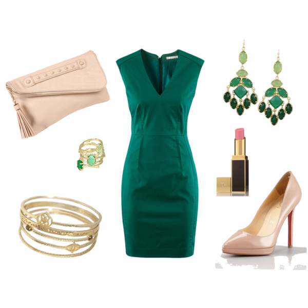 Green white green look